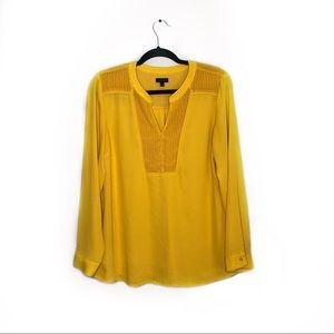 Talbots Yellow Flowy Long Sleeve Blouse Size M